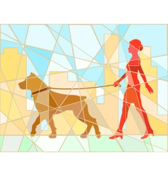Dog walker mosaic vector