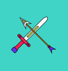 Flat icon design collection sword and arrow vector
