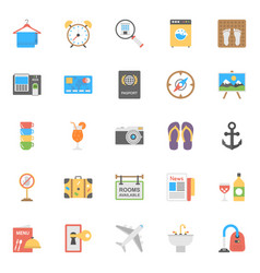 flat icon set of hotels and restaurants vector image