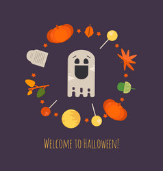 halloween ghost concept poster vector image vector image
