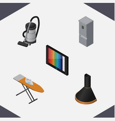 Isometric appliance set of television vac cloth vector