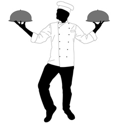 Kitchen chef serving a meal vector