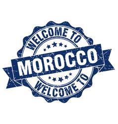 Morocco round ribbon seal vector