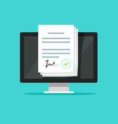 online electronic documents on laptop vector image vector image