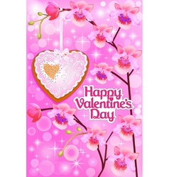 pink card with orchids and heart vector image