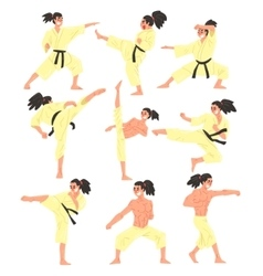 Professional martial arts sportsman funny vector