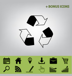 Recycle logo concept black icon at gray vector