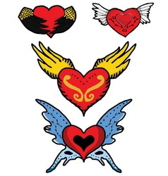 Red heart of angel and devil wings vector