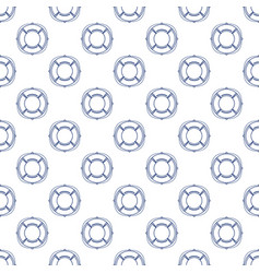 seamless pattern with lifebuoy line style vector image