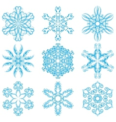 Set of blue snowflakes elements for design vector image