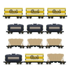 Set of different types of freight wagon vector