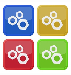 set of four square icons with nuts vector image