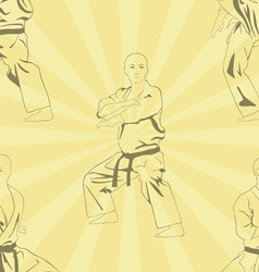 The image of five men who are engaged in karate vector