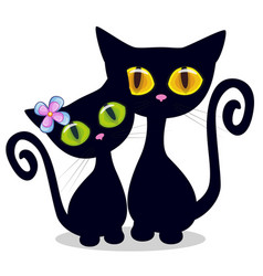 Two black kittens vector