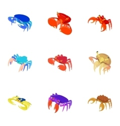 Types of crabs icons set cartoon style vector