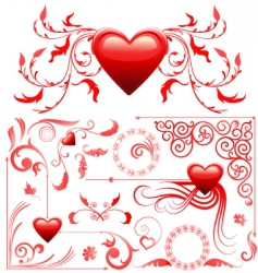 valentines card decoration set vector image