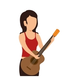 Woman playing guitar instrument isolated icon vector