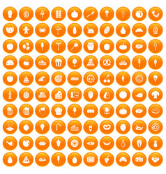 100 tasty food icons set orange vector