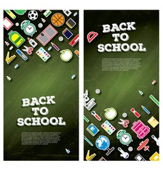Back to school banner set with school supplies vector