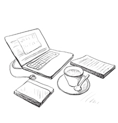 Workplace with laptop notebook and cup of coffee vector