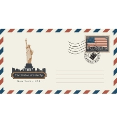 Envelope with postage stamp with statue of liberty vector