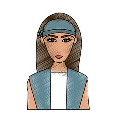 Color pencil cartoon half body woman with long vector