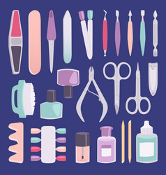 Manicure foot and hand fingers instruments vector