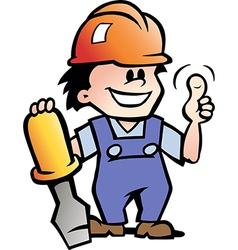 Hand-drawn of an Happy Mechanic Handyman vector image