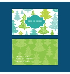 Holiday christmas trees horizontal frame vector