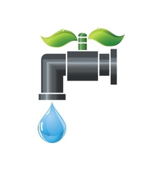 Water tap or faucet with droplet and green leaves vector