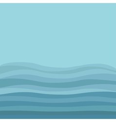 Sea ocean water with blue waves and sky background vector