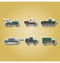 Color icons with army vehicle vector