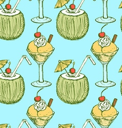 Sketch ice-cream and cocktail in vintage style vector