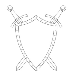 Two crossed swords steel shield emblem contour vector
