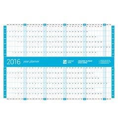 Blue calendar planner 2016 year design print vector