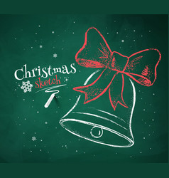Christmas bell on green chalkboard background vector