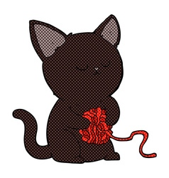Comic cartoon cute black cat playing with ball of vector