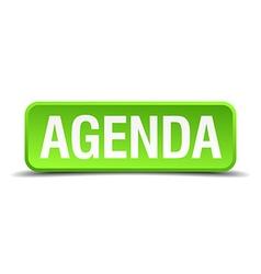 Agenda green 3d realistic square isolated button vector