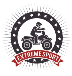Atv extreme sport label design vector