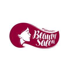 Beauty salon logo or label makeup makeover vector