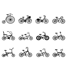 bicycle silhouettes set vector image vector image