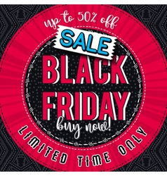 Black friday sale banner on color patterned backgr vector