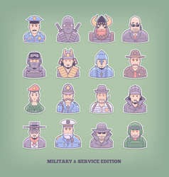 Cartoon people icons military and enforcement vector