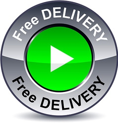 Free delivery round button vector