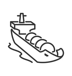 Gas tanker line style icon vector