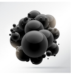 Group of black molecules vector
