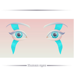 Human eyes on a colored background vector