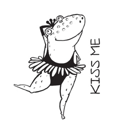 Linear dancing frog ballet dancer vector image