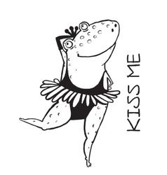 Linear dancing frog ballet dancer vector image vector image