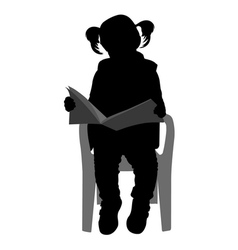 little girl reading vector image